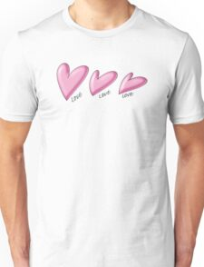Pink hearts with black outline. Love written underneath. Unisex T-Shirt