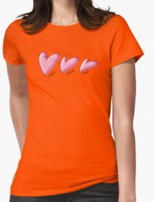 Pink hearts with black outline. Love written underneath. T-Shirt