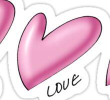 Pink hearts with black outline. Love written underneath. Sticker