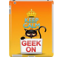 Keep Calm and Geek on! Cartoon Cat iPad Case/Skin