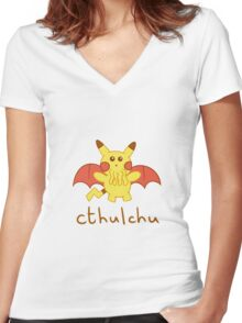 Cthulchu - Cthulhu Pikachu Women's Fitted V-Neck T-Shirt