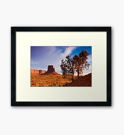 Junipers and West Mitten Butte Framed Print