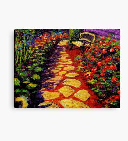 Bench & Stone Garden Pathway Canvas Print