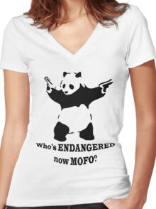 Who's endangered now MOFO?  (Large Print) Women's Fitted V-Neck T-Shirt