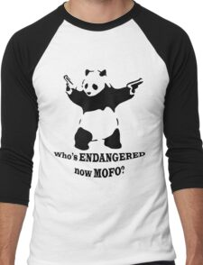 Who's endangered now MOFO?  (Large Print) Men's Baseball ¾ T-Shirt