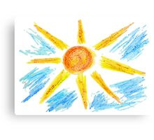 Hand Drawn Sun and Clouds Canvas Print