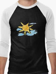 Hand Drawn Sun and Clouds 2 Men's Baseball ¾ T-Shirt