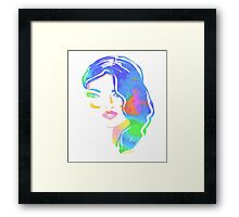 watercolour woman face Framed Print