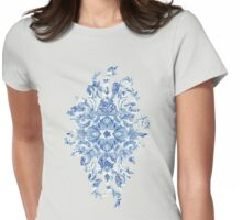 Pattern in Denim Blues on White Womens Fitted T-Shirt
