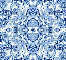 Pattern in Denim Blues on White by micklyn