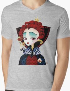 Queen of Hearts Mens V-Neck T-Shirt