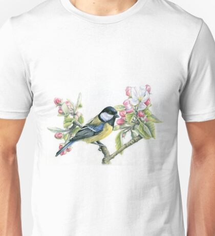 Great Tit and Apple Blossom Unisex T-Shirt