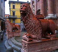 Reggio-Emilia. A Lion Sculpture in Front of San Prospero Cathedral. Emilia-Romagna, Italy 2009 by Igor Pozdnyakov