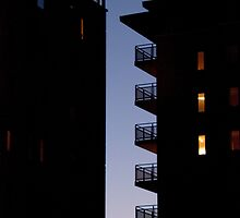 Apartment towers by night by polanri