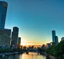 Sunset over the Yarra River, Melbourne, Australia by gregberlin