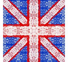 Lace Union Jack England Flag in Red, White, Blue Photographic Print