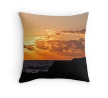 Snapper Rocks Fisherman At Sunrise Throw Pillow
