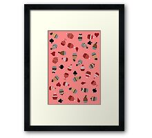 Deck Of Cards Cup Cakes pink Framed Print