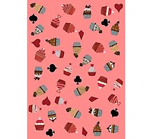 Deck Of Cards Cup Cakes pink Photographic Print