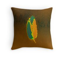 Peaceful Leaf - Green & Gold Throw Pillow