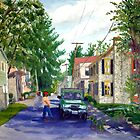 Elsah Illinois Streetscape - Oil Painting by Daniel Fishback