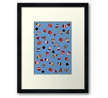 Deck Of Cards Cup Cakes blue Framed Print