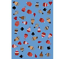 Deck Of Cards Cup Cakes blue Photographic Print