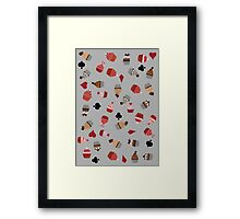 Deck Of Cards Cup Cakes grey Framed Print