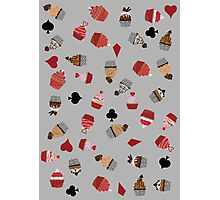 Deck Of Cards Cup Cakes grey Photographic Print