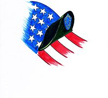 U S Army Beret with flag by James Peele