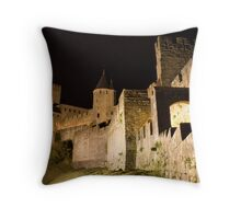 Carcassonne at night Throw Pillow