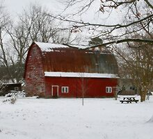 Red Barn In Winter by Amy Jackson
