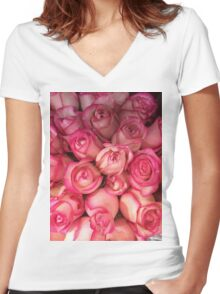 Pink Roses Women's Fitted V-Neck T-Shirt