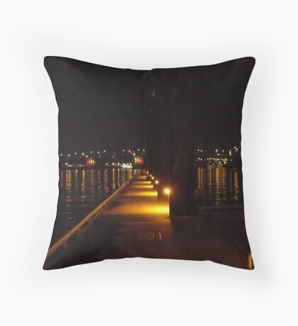 Nightscape at the Dock Throw Pillow