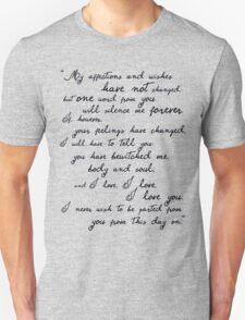 Pride and Prejudice, Darcy (black) Quote  Unisex T-Shirt