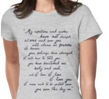 Pride and Prejudice, Darcy (black) Quote  Womens Fitted T-Shirt