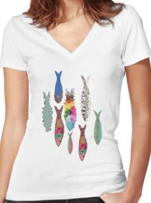 SARDINES Women's Fitted V-Neck T-Shirt