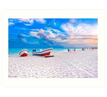 Colorful Boats Beached On The Caribbean Shores of Playa del Carmen Art Print