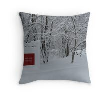 Red in the snow Throw Pillow