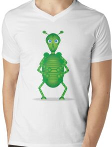 Happy Green Insect Mens V-Neck T-Shirt