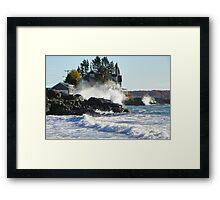 Kennebunk Maine Beach - Storm Waves Framed Print