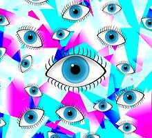 Good Luck Blue Eyes on Girly Geometric Trianlges by Blkstrawberry