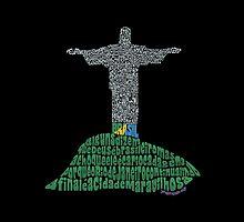 Cristo Redentor, Rio de Janeiro - Calligram by Julia Braga