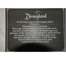 Walt Disney Quote Disney Geek Pledge Disneyland Photographic Print