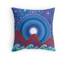 3 mountains and a moon Throw Pillow
