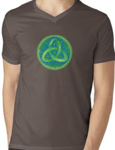 Green Ouroboros Celtic Snake Mens V-Neck T-Shirt