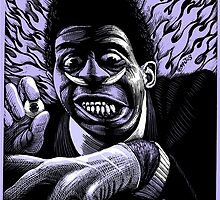 Screamin' Jay Hawkins. Scratchboard drawing 1989 by pynoman
