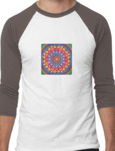 Lotus Rainbow Mandala Men's Baseball ¾ T-Shirt