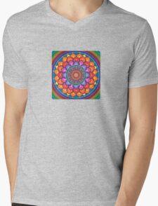 Lotus Rainbow Mandala Mens V-Neck T-Shirt