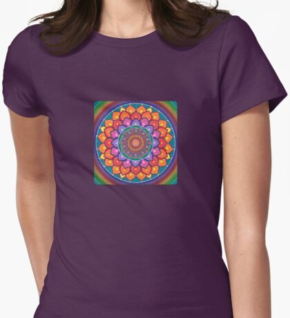 Lotus Rainbow Mandala Womens Fitted T-Shirt